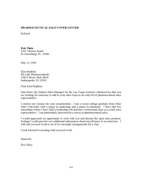 Cover Letter For Pharmaceutical Sales by Pharmaceutical Sales Cover Letter Free