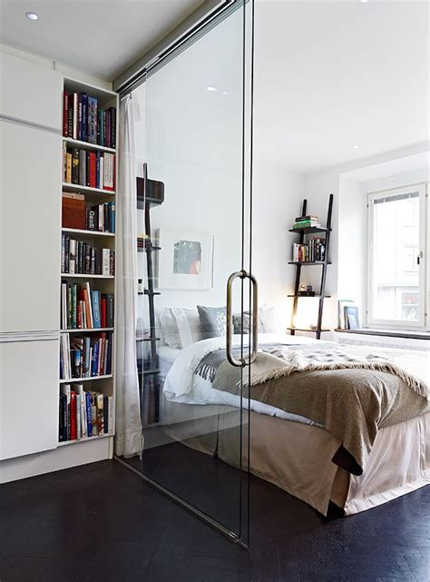 Small Room Divider Glass Wall Divider In A Small Apartment Separating Kitchen And Bedroom Small Space Solution