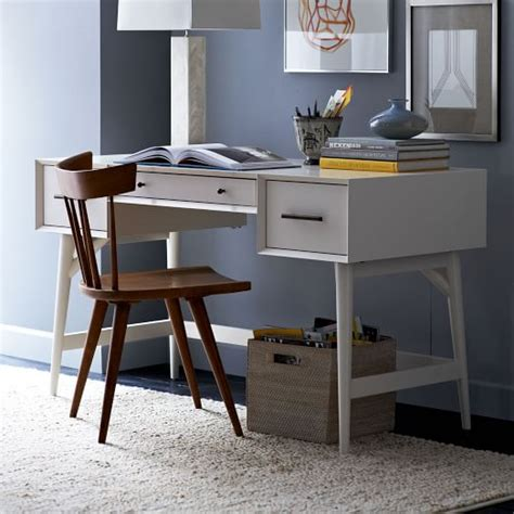 West Elm Office Desk Mid Century Desk White West Elm