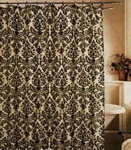 Amazon Com Medallion Black Cream Toile Fabric Shower Fleur De Lis Kitchen Curtains