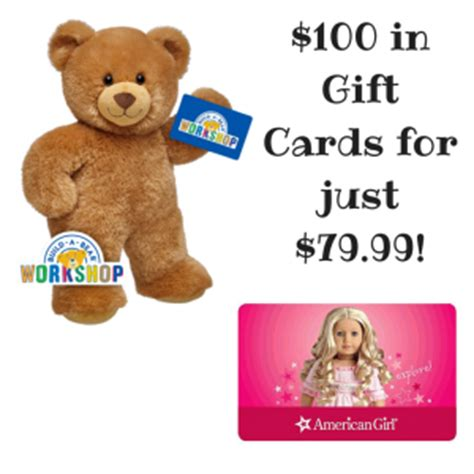Build A Bear Gift Card Balance - 100 american girl and build a bear gift cards for 79 99