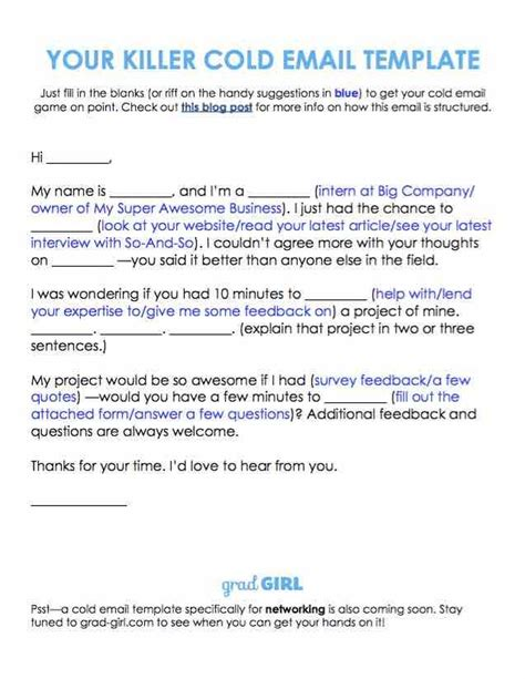 The Cold Email Is One Of The Best Ways To Talk To Strangers Learn How To Write One Here Work The Best Cold Email Template