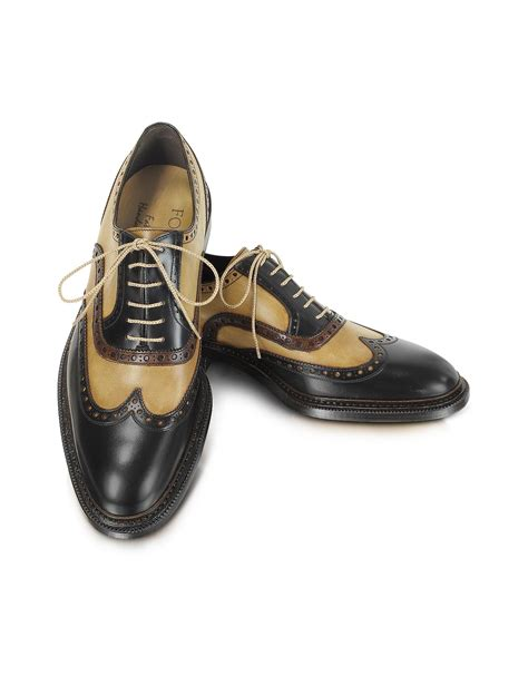 italian oxford shoes forzieri italian handcrafted two tone wingtip oxford shoes