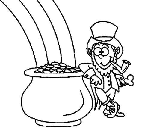 coloring page rainbow and pot of gold pot of gold coloring page clipart panda free clipart