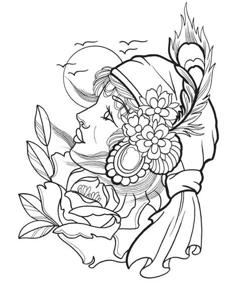 modern girl coloring page nos jeux de coloriage tatouage 224 imprimer gratuit page 7