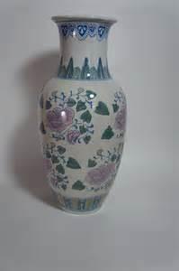 Vintage Porcelain Vases by Vintage Porcelain Painted Vase Pink Flowers Marked