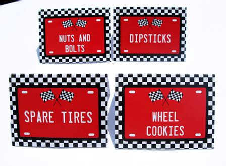 Race Car Birthday Party Printables Party Decorations Auto Labels Templates