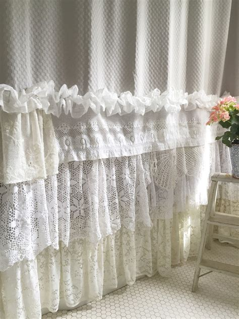 shabby cottage chic shower curtain grey lace  farmhousefare