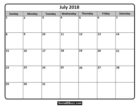 blank calendar template 2018 uk july 2018 calendar printable template with holidays pdf usa uk