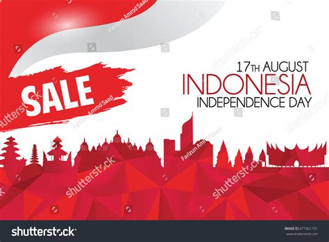 design indonesia independence day vector red design illustration indonesia icons stock