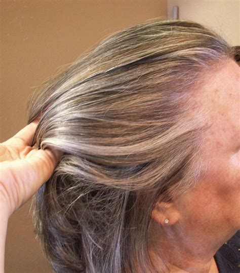 highlights to hide grey in darker hair lowlights and highlights added to grey hair hair by janet