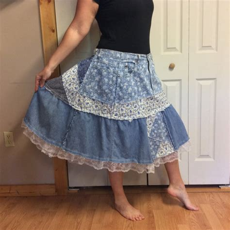 Plus Size Patchwork Skirt - 3xl patchwork denim skirt plus size skirt blue jean skirt midi