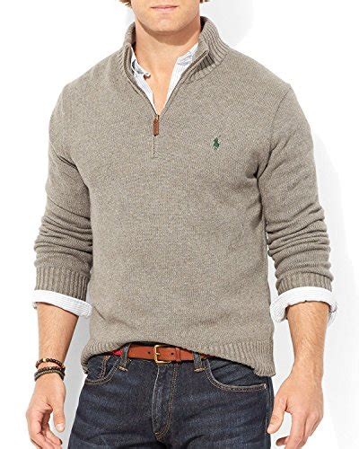 Rompi Sleeveless Zipper Polos Abu polo ralph mens half zip mock neck cotton sweater xl fawn grey apparel in