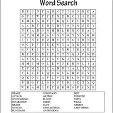 printable word search medical heart attacks word search