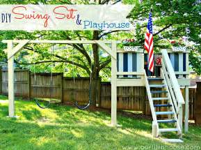 Diy Backyard Swing by Our Fifth House Diy Swing Set Amp Playhouse