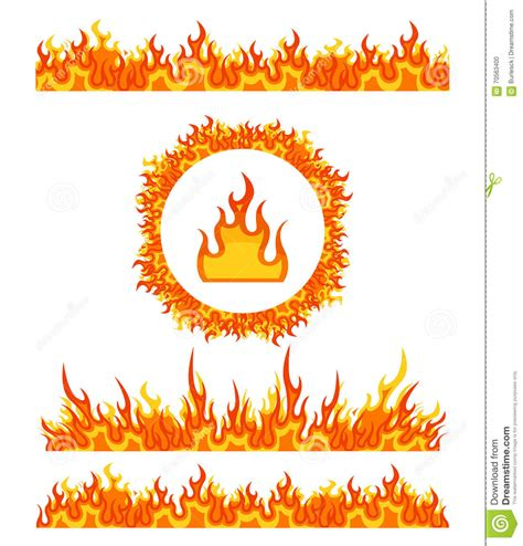 pattern heat vector simple fire border patterns and round frame flame borders