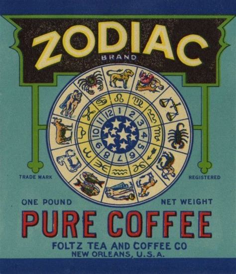 2e hands zodiac vintage zodiac coffee can label from new orleans