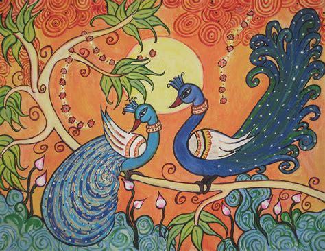 African Wall Murals the peacocks painting by deepa padmanabhan