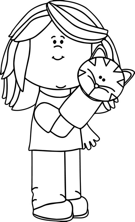 girl playing  puppet coloring page wecoloringpagecom