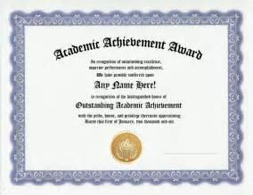 academic award certificate template academic achievement awards certificates
