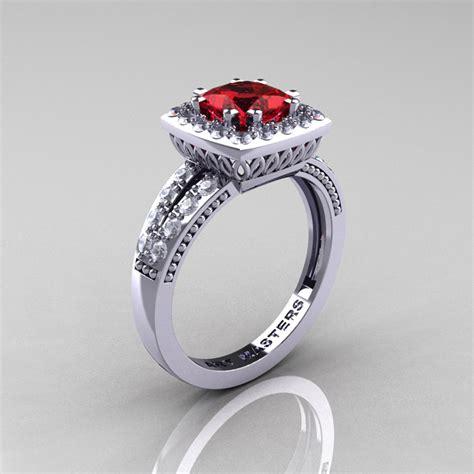 Ruby 1760 Ct renaissance classic 14k white gold 1 23 ct princess rubies