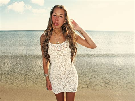 Handmade Crochet Dress - emmaoclothing handmade crochet mini dress white