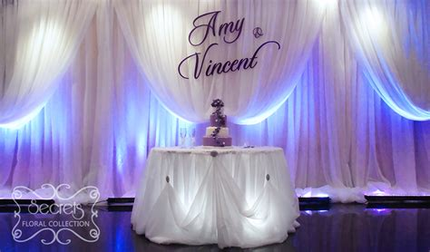 Wedding Backdrop With Names by Large Purple Name Plate On Voile Backdrop Secrets