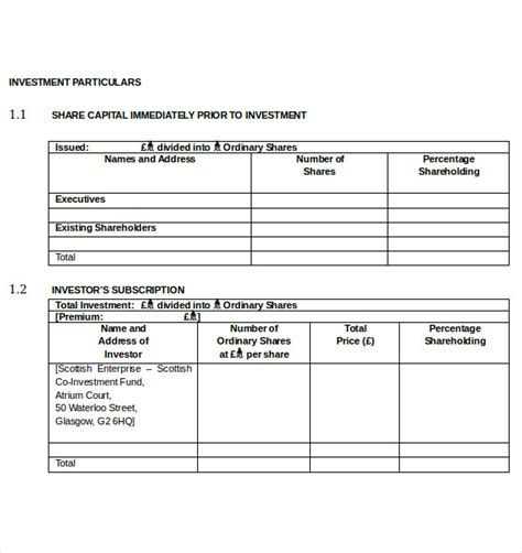 business template for investors investment business plan