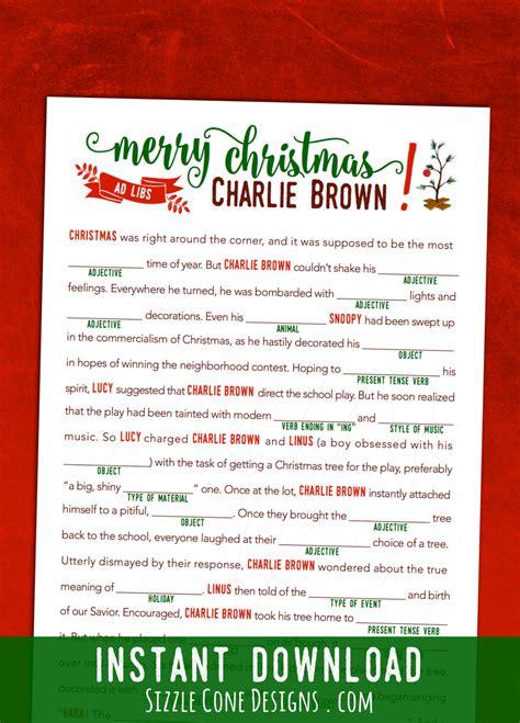 printable christmas mad libs printable charlie brown christmas mad lib children s