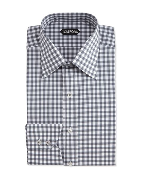shirt pattern checks tom ford check pattern silk dress shirt in gray for men lyst