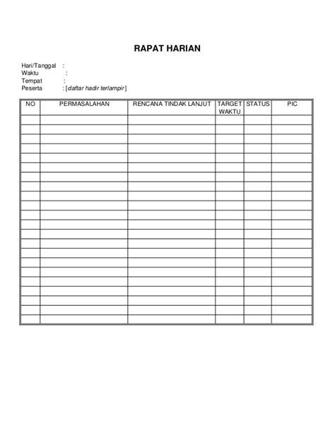format daftar hadir dan notulen rapat format rk3k pu 2