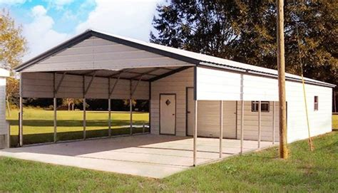 Enclosing A Metal Carport by 22x56 Vertcal Roof Utility Carport Building Enclosed