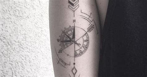 tattoo compass lines even with thinner lines this compass is still sharp