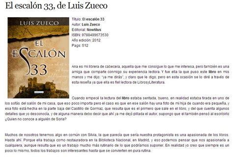 imagenes de reseñas literarias el escal 243 n 33 una novela de luis zueco rese 241 a en quot libros