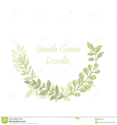 Greenery Doodle Semicircle Wreath Vector Stock Vector Image 90816472 Leaf Border Template