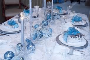 elegant blue silver decorated table christmas stock