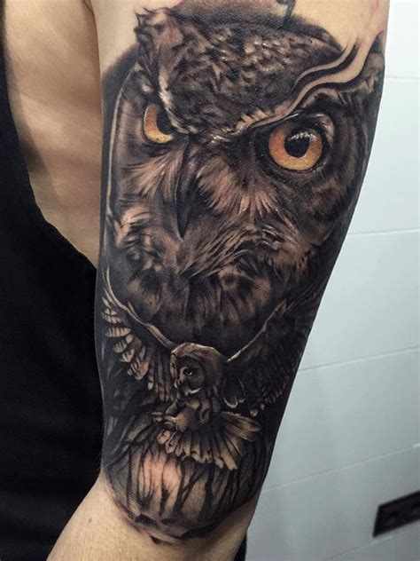 owl sleeve tattoo owl arm tattoos