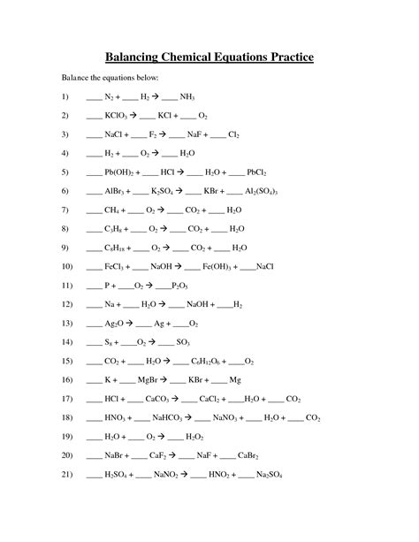 Balancing Chemical Equations Worksheet Middle School by Balancing Chemical Equations Worksheet Answers 8th Grade