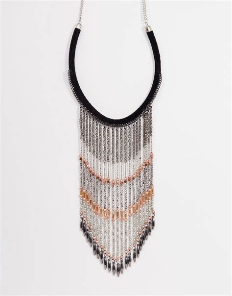 Fringe Necklace shoptagr asos statement fringe necklace by asos collection