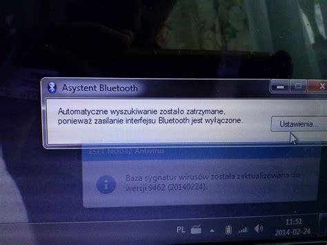 komunikat o braku zasilania bluetooth na laptopie toshiba