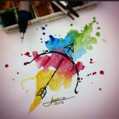 sagittarius watercolor aquarelas pinterest