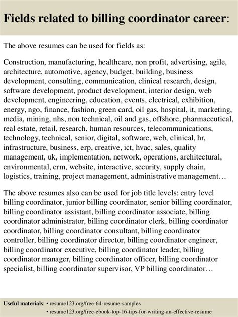 top 8 billing coordinator resume sles