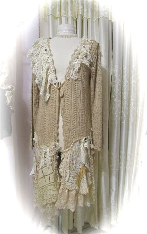 sweaters etsy doily sweater coat shabby n chic doilies tattered laces refashioned altered couture