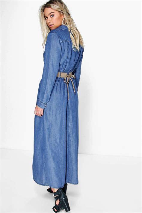 Denima Maxy Dress new boohoo womens sleeve button through denim