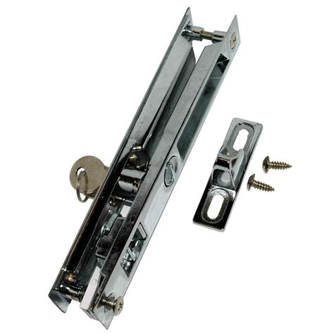 Sliding Glass Patio Door Lock Barton Kramer Chrome Plated Patio Door Lock With Key 445 The Home Depot