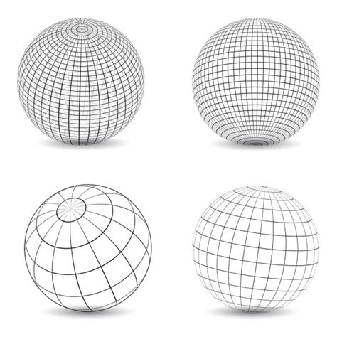 pattern simple glob collection of various designs of wireframe globes vector