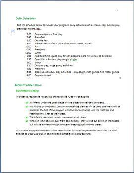 Family Childcare Basic Parent Handbook Template By Miss Rayanna S Classroom Child Care Parent Handbook Template