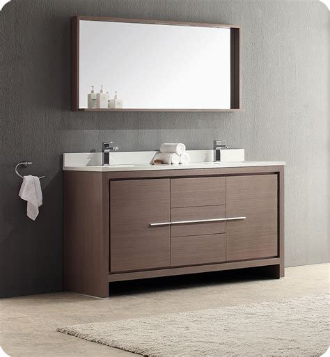 modern double sink bathroom vanities fresca fvn8119go allier 60 quot gray oak modern double sink