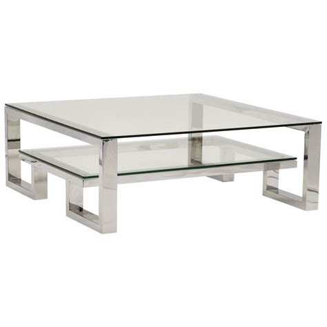Steel Coffee Table Yves Regency Polished Stainless Steel Coffee Table