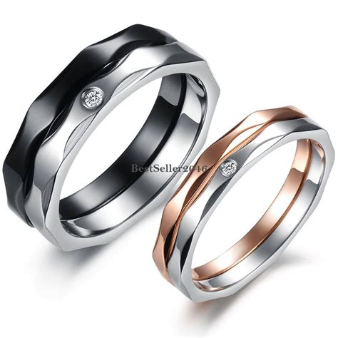 stainless steel promise ring mens engagement